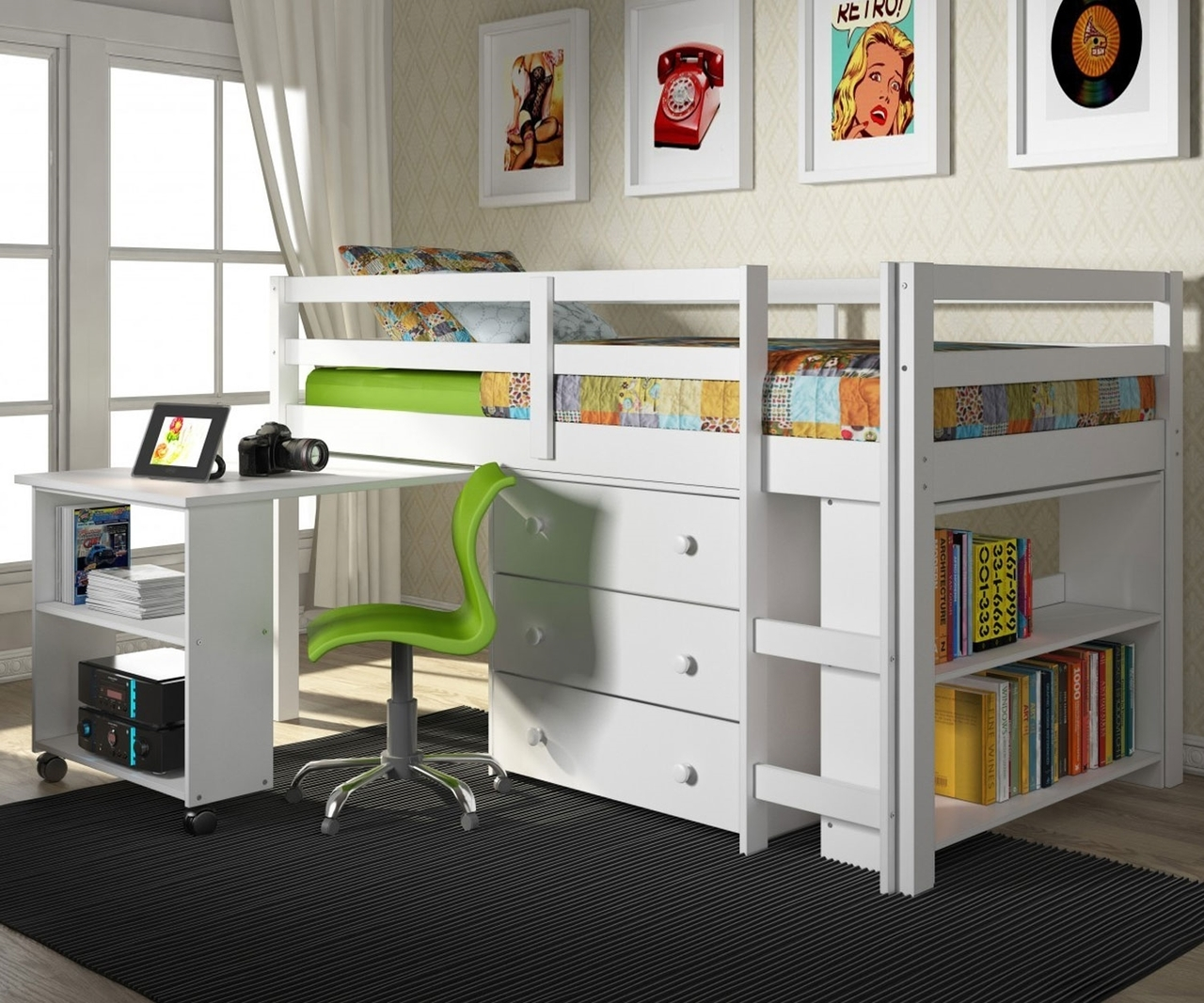 Low Loft Bed With Desk | Kids Furniture Warehouse